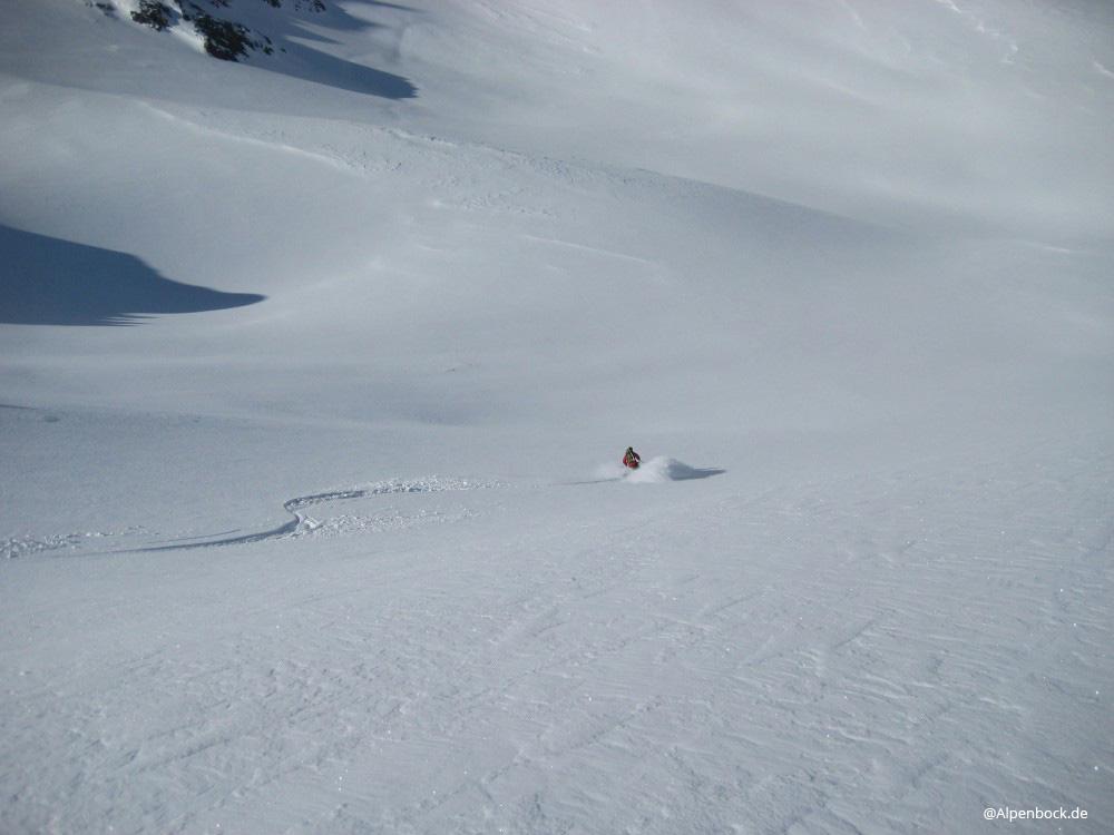 Zur Belohnung gabs dann eine schöne Abfahrt mit gutem Schnee